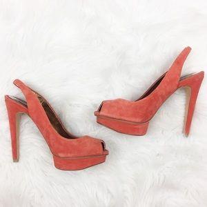 BCBGMaxAzria | Orange Suede Heels